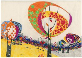 "Aditi Raychoudhury. Land of Plenty (In Orange). 2009. 17"" x 14"". Colored Pencils on Tracing Paper."