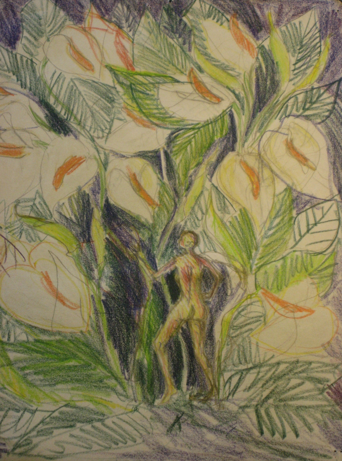 "Aditi Raychoudhury. Callas and Me (Initial Sketch), 2006. 8 1/2"" x 11"", Colored Pencils on Paper."