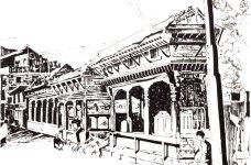 Aditi Raychoudhury. Village Gossip, Kirtipur, Nepal. 1991. Pen and Ink.