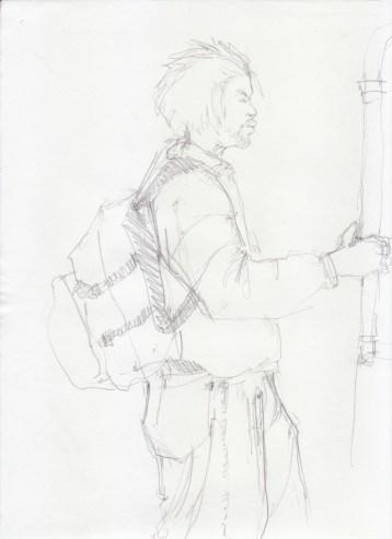 Aditi Raychoudhury. Standing Man. 2000???. Pencil on Xerox Paper.