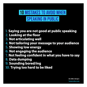 10 mistakes to avoid while speaking in public