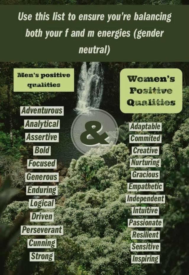 balance the feminine and masculine energies