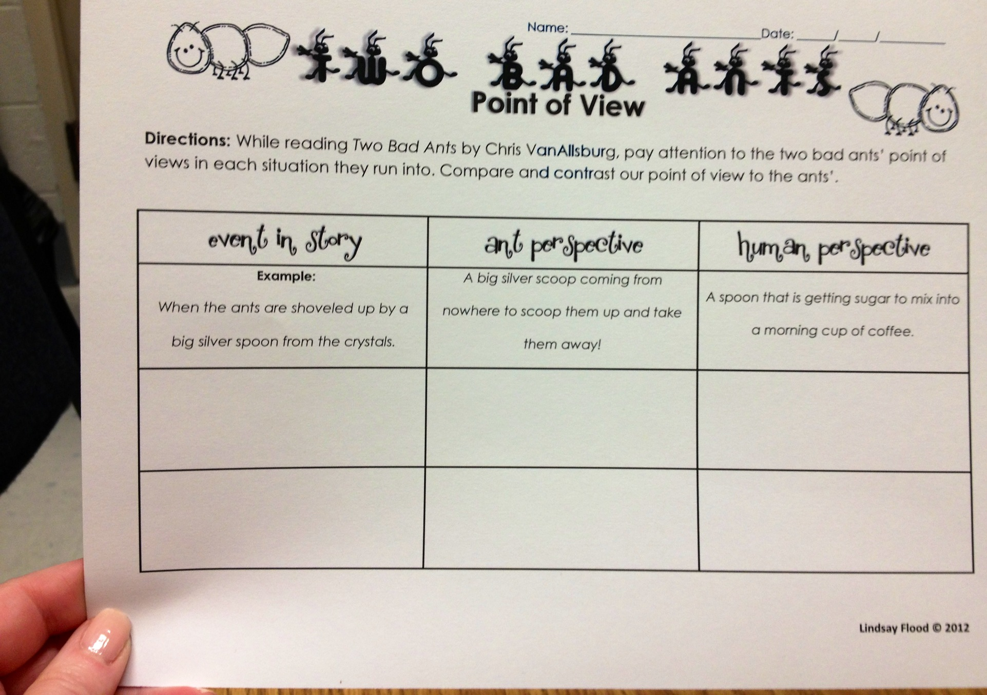 Two Bad Ants Worksheets