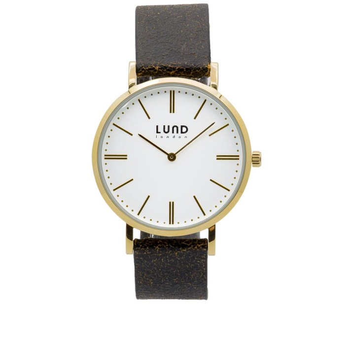 Black Leather Watch with Gold Clasp - 39mm
