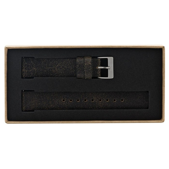 Vintage Black Leather Strap with Silver Clasp - 9087