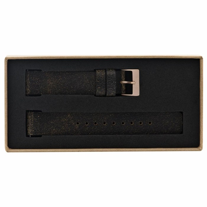 Vintage Black Leather Strap with Rose Gold Clasp - 9089