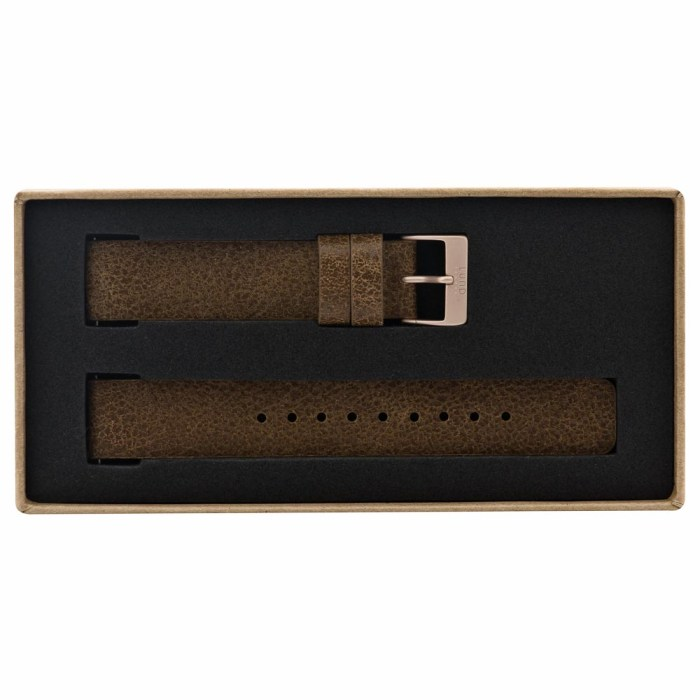 Vintage Brown Leather Strap with Rose Gold Clasp - 9085