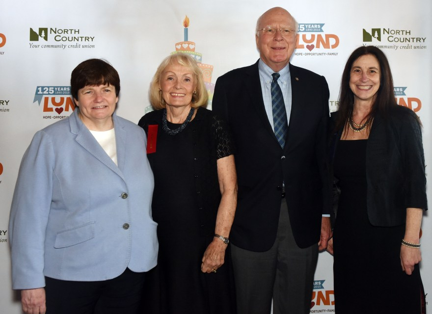 State Treasurer Beth Pearce, Mrs Marcelle Leahy, Senator Patrick Leahy and Lund Executive Director Barbara Rachelson at the 125th Celebration