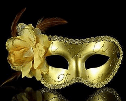 Gold masquerade mask for themed party, formal celebration