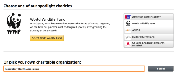 AmazonSmile Pick Your Own Charitable Organization