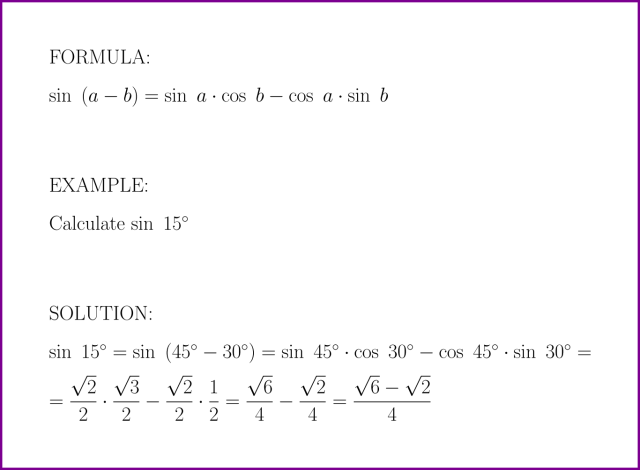 sin (a – b) = ? (formula with example) [sine of difference