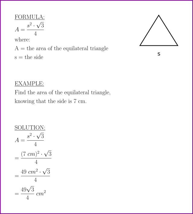 Area of equilateral triangle (formula and example) – LUNLUN.COM