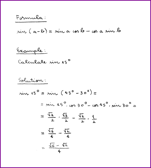 sin (a – b) (formula and example) (sine of difference