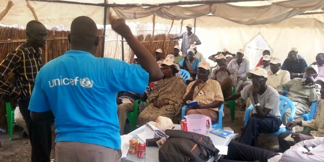 Leaders learning polio eradication in Protection of Civilians camp, South Sudan.