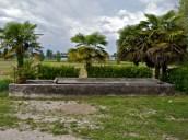 Lavatoio con palme davanti a Villa Cattaneo