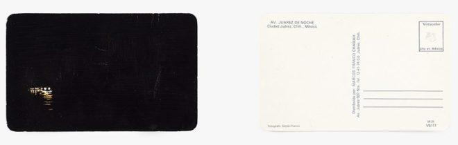 Francis Alÿs. Ciudad Juárez postcards, 2013 IInstalación de 16 postales vintage y tinta negra. Dimensiones variables