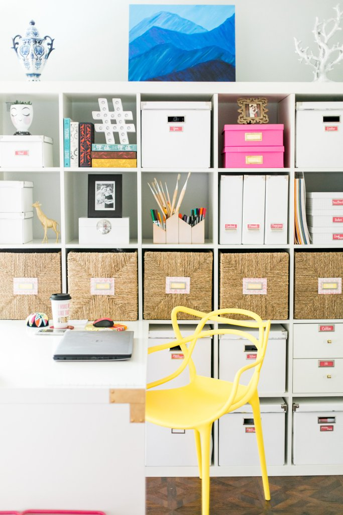 Styled Ikea hack Kallax Shelves Organized Craft Room Tour