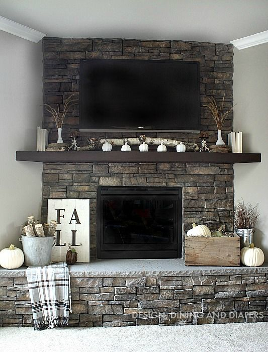 Fall mantle decor - neutral rustic look
