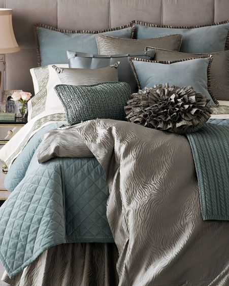 Gray and Blue Bed Set