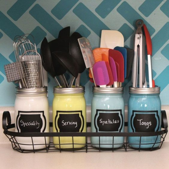 DIY Mason Jar Kitchen Organization