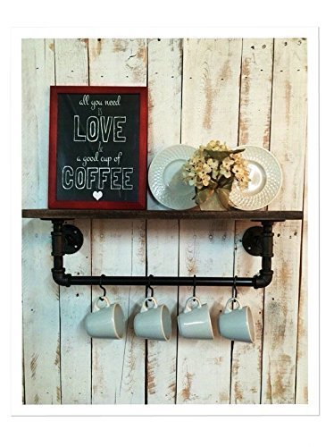 Industrial kitchen shelf, Rustic kitchen shelves industrial shelves, wall hanging, industrial décor, coffee bar, pot hanger, décor home