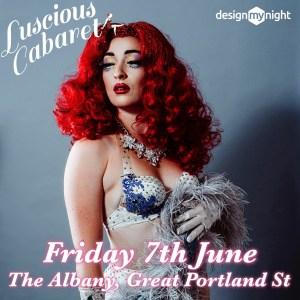 Picture, scarlett o'hora posing in a white sparkly outfit with Friday 7th June and Luscious Cabaret logo