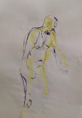 Man on crutches 3 pastel