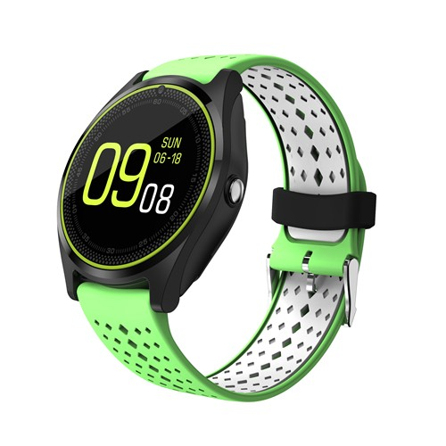Beseneur V9 Smart Watch Men with Camera Bluetooth Support SIM Card Smartwatch Wearable Devices Sports Wristwatch Green White 18541 zoom