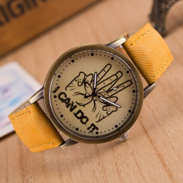 Denim With i Can Do It Words Graffiti Background Personalized Watches Simple And Stylish 17   Online In Pakistan