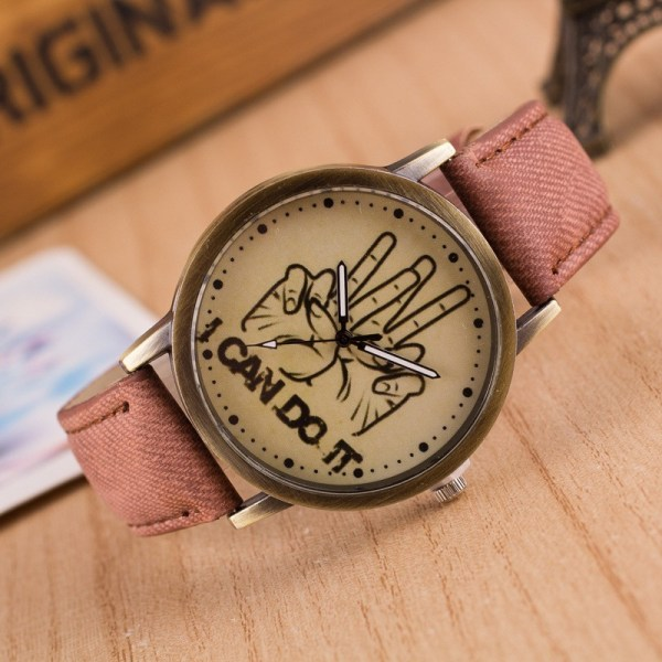 Denim With  i Can Do It  Words Graffiti Background Personalized Watches Simple And Stylish 18