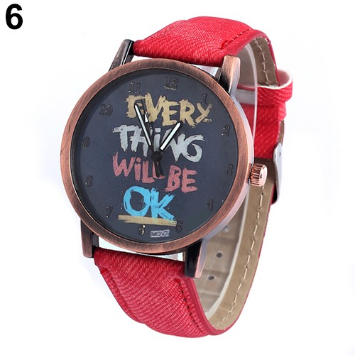 Men s Women s Every Thing Will Be Ok Denim Band Analog Quartz Dress Wrist Watch dropshipping6