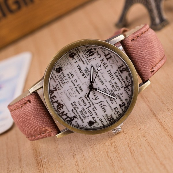 Women Retro Watch Lovers Numerals Newspaper Dial Design Watches Students Cre 2