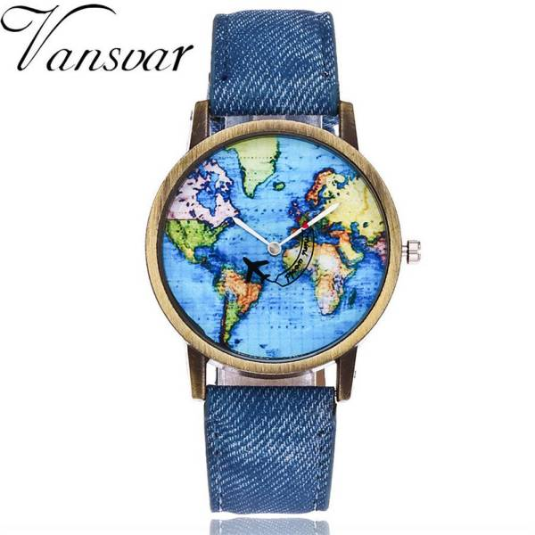 img 4 Vansvar Fashion New World Map Round Dial Women s Dress Denim Fabric Belt Quartz Wrist Ladies