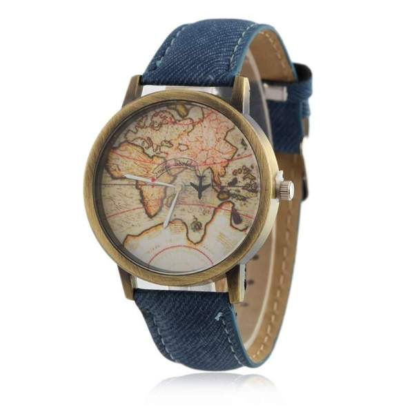 img 6 Women Watches Global Travel By Plane Map Casual Denim Quartz Wristwatch Casual Female Clock relogio feminino