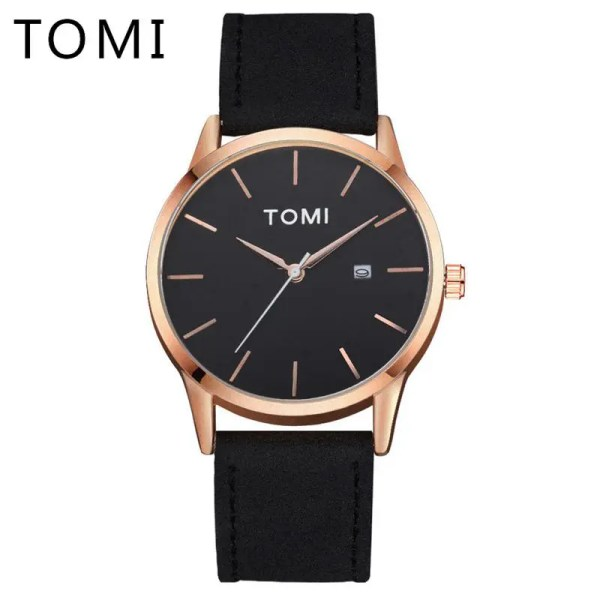 Tomi Watches Men Luxury Brand Luxury Business Sport Watch Quartz Men Wristwatch Leather Strap Rose Gold 76