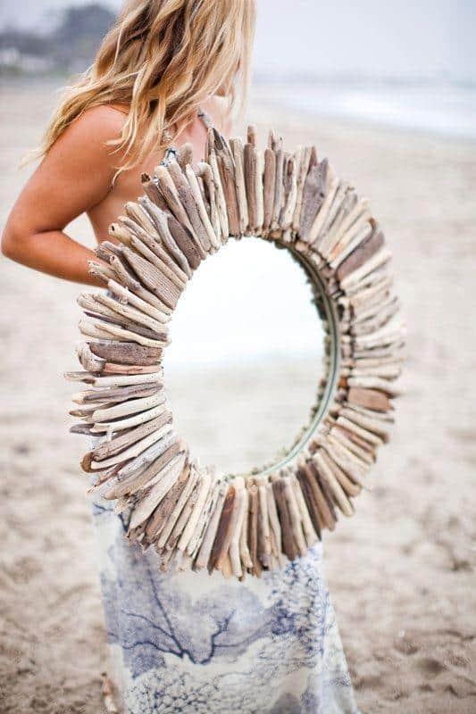 diy driftwood mirror / beach house style