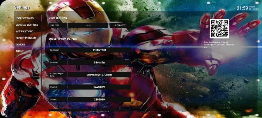 Screenshot of Phantom Canais IPTV