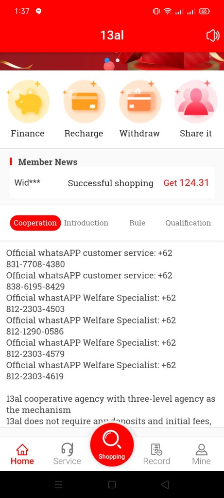 Screenshot of 13AL App