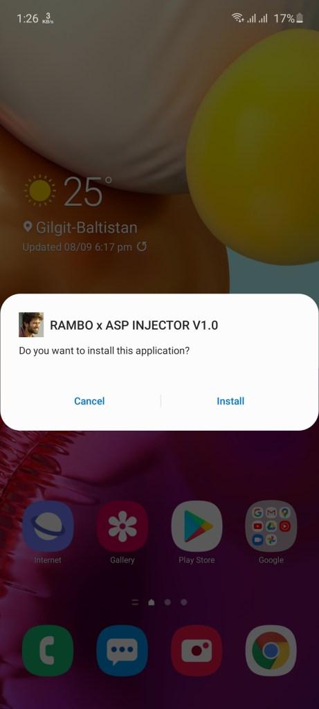 Screenshot of Rambo Injector