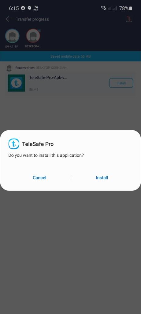 Screenshot of TeleSafe