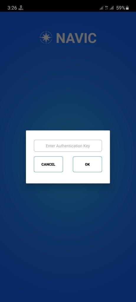 Screenshot of NAVIC App