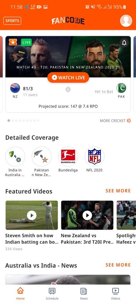 Screenshot of Fan Code App
