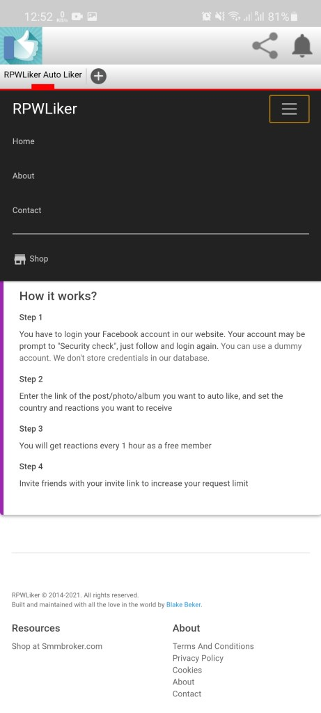 Screenshot of RPW Likers Apk