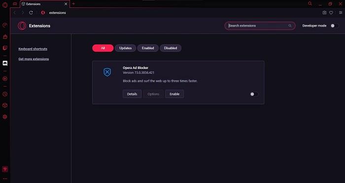 Screenshot Opera GX Extensions