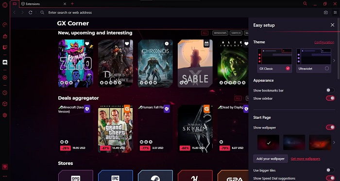 Screenshot Opera GX Themes and Appearance