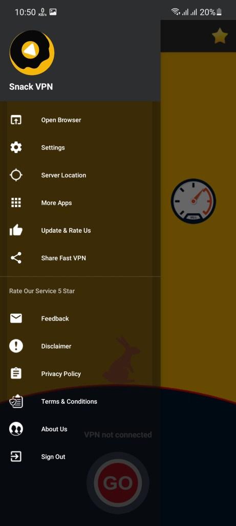 Screenshot of Snack VPN App