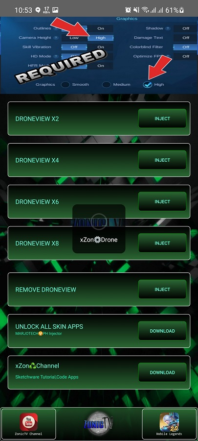 Screenshot of XZON Drone App