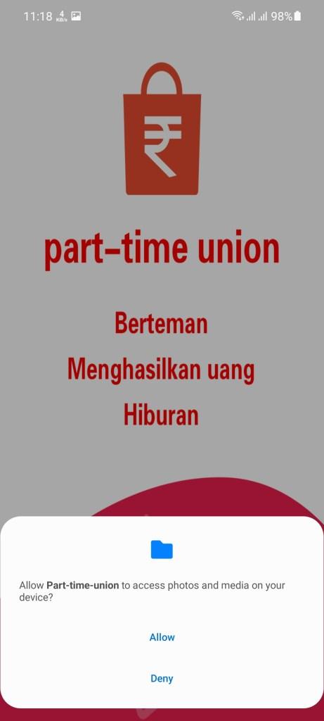Screenshot of Part Time Union App