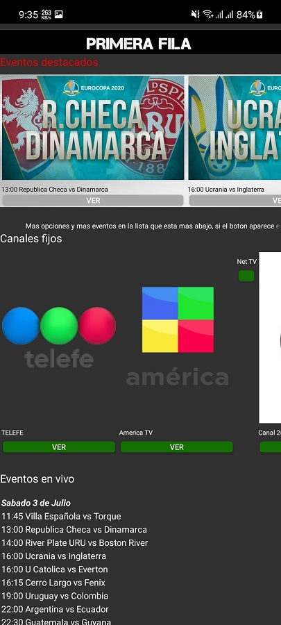 Screenshot of Primera Fila App Futbol