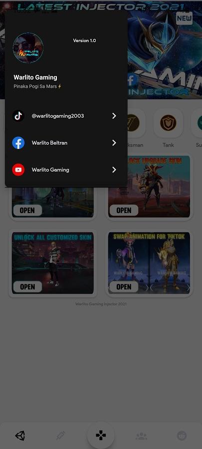Screenshot of Warlito Gaming Injector